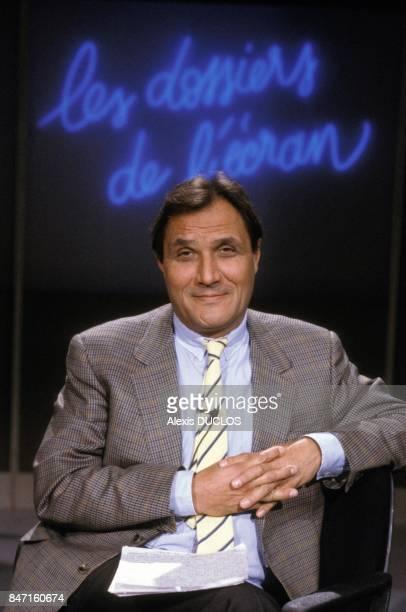 Alain Jerome presenter of TV programme Les Dossiers de l Ecran in January 1987 in Paris France