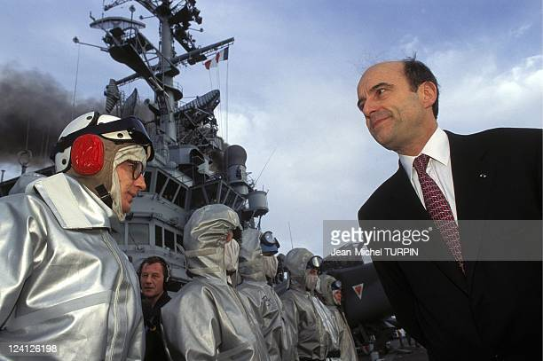 Alain Juppe and CMillon on the 'Clemenceau' In France On January 25 1996