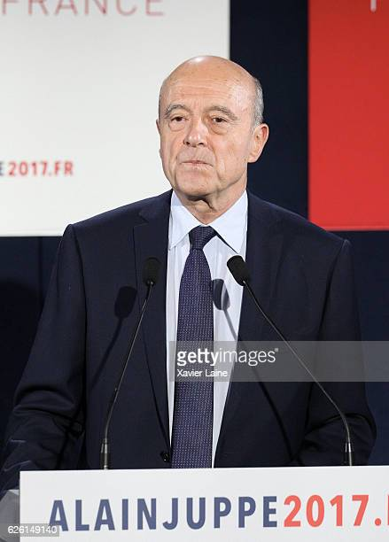 Alain Juppe looks disappointed after his defeat after the RightWing primary elections ahead of 2017 Presidential elections as he speaks at his...