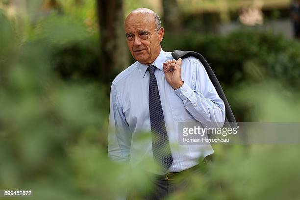 Alain Juppe Mayor of Bordeaux and Les Republicains presidential candidate hopeful takes a walk after a press conference at Bordeaux metropole on...