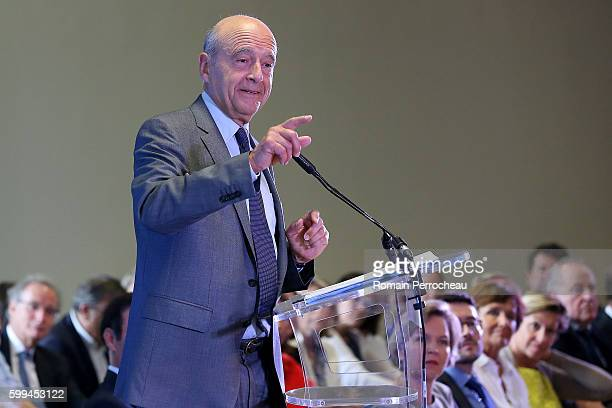 Alain Juppe Mayor of Bordeaux and Les Republicains presidential candidate hopeful speaks during a press conference at Bordeaux metropole on September...