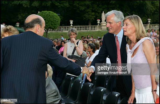 Alain Juppe Michel Barnier and his wife Isabelle at La Traviata In The Gardens Of The Senate In Paris