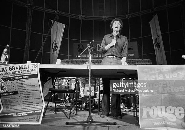 Alain Krivine leader of the Ligue Communiste Revolutionnaire speaks during the Communist League annual celebration held at the Porte de Pantin...