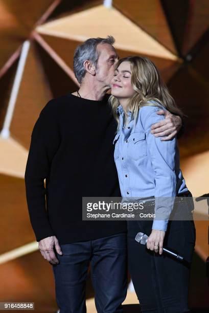 Alain Lanty and singer Louane Emera attend the 33rd 'Les Victoires De La Musique' 2018 at La Seine Musicale on February 9 2018 in BoulogneBillancourt...