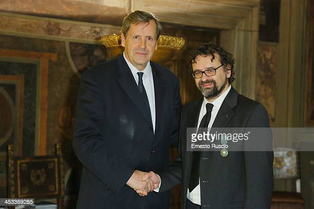 Alain Le Roy and Francesco Lotoro attend the Arts and Letters Medal award ceremony at Palazzo Farnese on December 3 2013 in Rome Italy