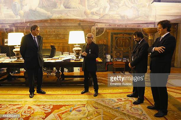 Alain Le Roy Ludovico Einaudi Francesco Lotoro and Oscar Pizzo attend the Arts and Letters Medal award ceremony at Palazzo Farnese on December 3 2013...