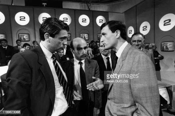 Alain Madelin, Claude Malhuret et François Léotard sur le plateau de l'émission 'L'heure de vérité' à Paris le 28 mai 1986, France.