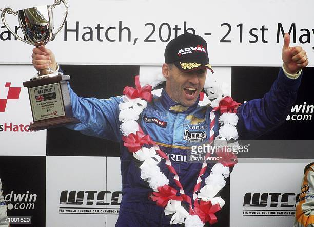 Alain Menu of Switzerland and Chevrolet celebrates winning race 2 of the FIA World Touring Car Championship on May 21, 2006 at Brands Hatch, England.
