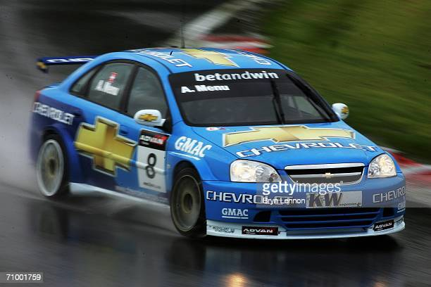 Alain Menu of Switzerland and Chevrolet on his way to winning race 2 of the FIA World Touring Car Championship on May 21, 2006 at Brands Hatch,...