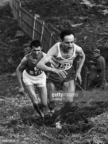 Alain Mimoun leads the National crosscountry Rhadi follows behind | Location Mezidon France