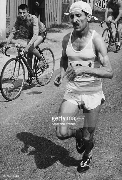 Alain Mimoun Winner Of The French Marathon Championship In Cormeilles En Parisis On July 20Th 1958