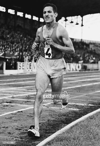 Alain Mimoun Winner Of The Marathon Race At The Melbourne Olympic Games On December 3Th 1956