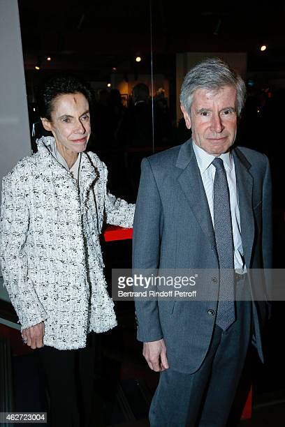 Alain Minc and his wife attend the Private Screening of the Movie 'Tout Peut Arriver' at Mac Mahon Cinema on February 3 2015 in Paris France This...