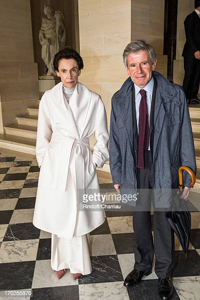 Alain Minc and his wife attend the private visit of the exhibition by Italian artist Giuseppe Penone at Chateau de Versailles on June 9 2013 in...