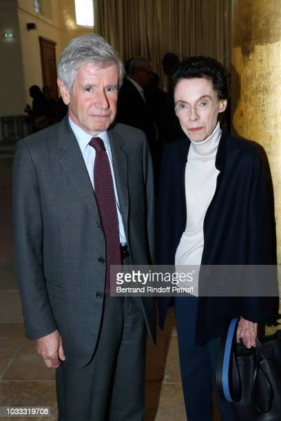 Alain Minc and his wife Sophie Boisrond attend the Kering Heritage Days Opening Night at 40 Rue de Sevres on September 14 2018 in Paris France