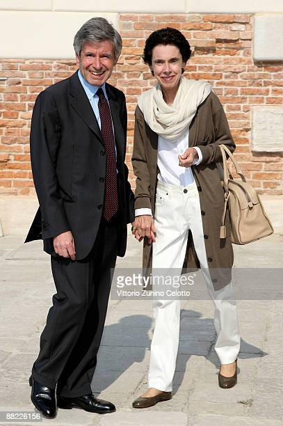 Alain Minc and wife attend the opening of the new Contemporary Art Centre Francois Pinault Foundation on June 4 2009 in Venice Italy