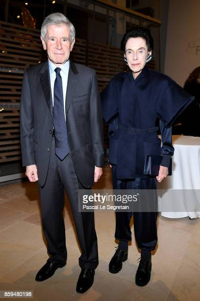 Alain Minc and wife Sophie Boisrond attend 'Etre Moderne Le MoMA A Paris' Exhibition at Fondation Louis Vuitton on October 9 2017 in Paris France