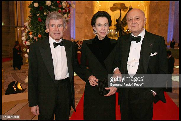 Alain Minc and wife with Pierre Berge at The Dinner Hosted At The Petit Palais To CoInside With The Retrospective Yves Saint Laurent