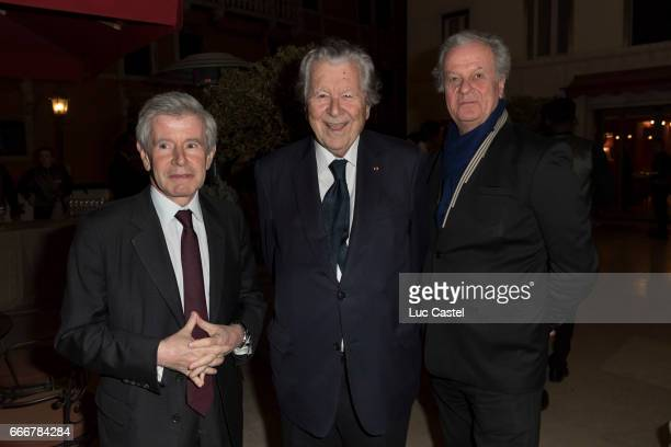 Alain Minc Bruno Roger and Jacques Grange attend the opening of Damien Hirst 'Treasures From The Wreck Of The Unbelievable' new exhibition on April 8...