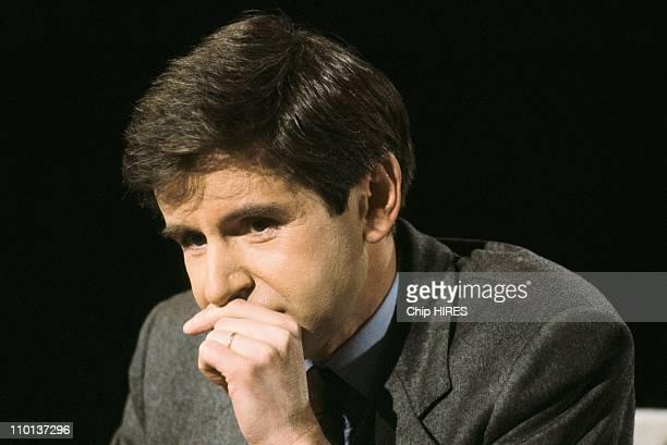 Alain Minc guest at 7 sur 7 TV show in Paris France on December 13 1987