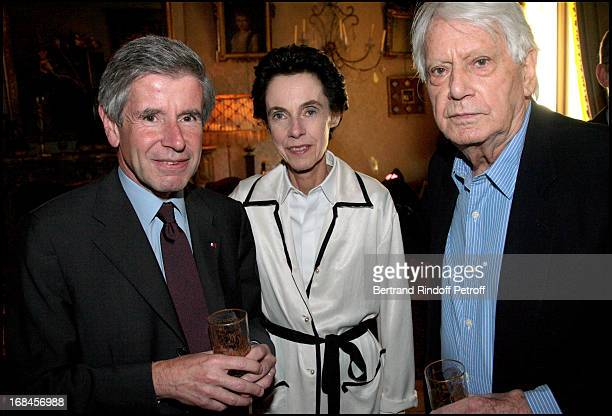Alain Minc his wife and Jorge Semprun at Princess Lee Radziwill Awarded Knight in the National Order of the Legion of Honor