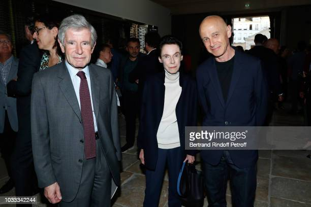 Alain Minc his wife Sophie Boisrond and Martin Szekily attend the Kering Heritage Days Opening Night at 40 Rue de Sevres on September 14 2018 in...