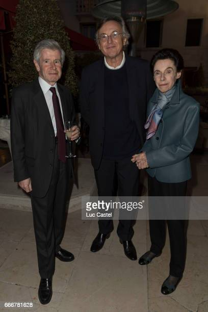 Alain Minc Pierre Passebon and Sophie Boisrond attend the opening of Damien Hirst 'Treasures From The Wreck Of The Unbelievable' new exhibition on...