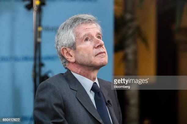 Alain Minc president of investment advisory AM Conseil pauses during a Bloomberg Television interview in Paris France on Thursday March 9 2017 Minc...