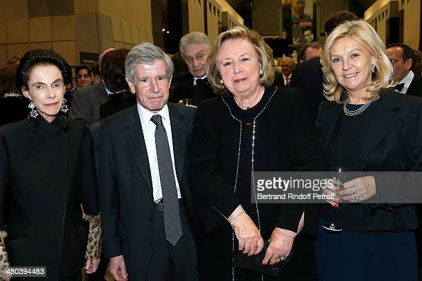 Alain Minc's wife political advisor and businessman Alain Minc Madame Francois Pinault and Anne Meaux attend the dinner party of the Societe Des Amis...