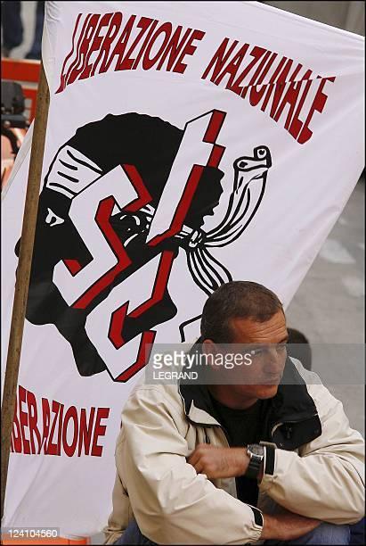 Alain Mosconi JeanGuy Talamoni and Edmond Simeoni at the social manifestation In Bastia France On October 04 2005
