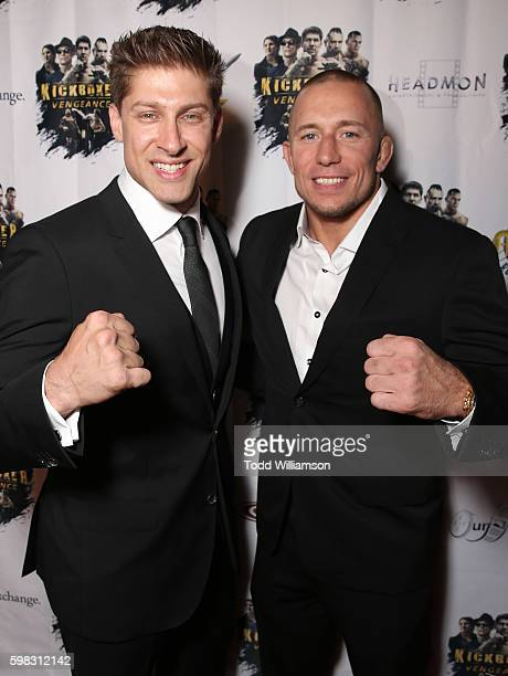 Alain Moussi and Georges StPierre attend the premiere Of RLJ Entertainment's 'Kickboxer Vengeance' at iPic Theaters on August 31 2016 in Los Angeles...