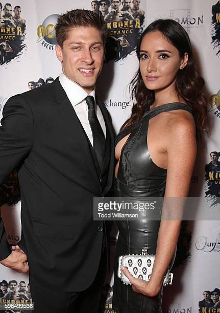 Alain Moussi and Sara Malakul Lane attend the premiere Of RLJ Entertainment's 'Kickboxer Vengeance' at iPic Theaters on August 31 2016 in Los Angeles...