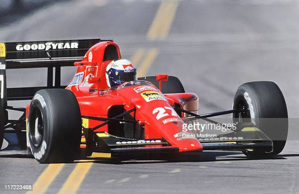 Alain Prost #27of the Ferrari team drives to a second place finish at the 1991 United States F1 Grand Prix held on March 10 1991 in Phoenix Arizona