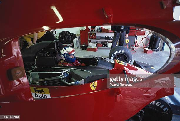 Alain Prost driver of the Scuderia Ferrari SpA Ferrari 643 Ferrari 35 V12 during pre season testing on 1st February 1991 at the Autodromo Enzo e Dino...