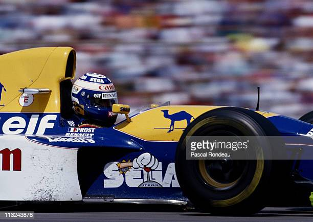 Alain Prost drives the Canon Williams Renault Williams FW15C Renault 35 V10 during the Mobil 1 German Grand Prix on 25th July 1993 at the...
