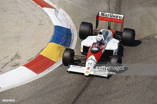 Alain Prost drives the Marlboro McLaren Honda MP4/5 during the French Grand Prix on 9 July 1989 at the Circuit Paul Ricard in Le Castellet France