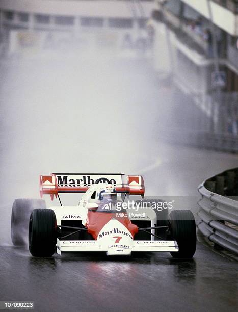 Alain Prost drives the Marlboro McLaren International McLaren MP42 TAG 15 V6T in the rain during the Grand Prix of Monaco on 3rd June 1984 on the...