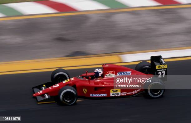 Alain Prost drives the Scuderia Ferrari F191 Ferrari 35 V12 during the Mexican Grand Prix on 16th July 1991 at the Autódromo Hermanos Rodríguez in...