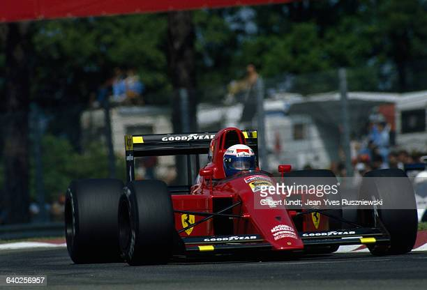Alain Prost driving a Ferrari during the San Marino Grand Prix