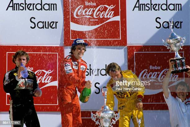 Alain Prost, Elio de Angelis, Keke Rosberg, Grand Prix of Brazil, Jacarepagua, 25 March 1984.