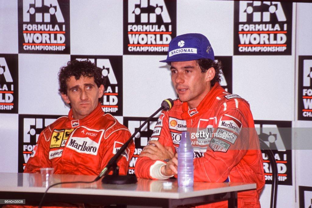 Alain Prost et Ayrton Senna au Grand Prix de Magny-Cours en 1991 : News Photo