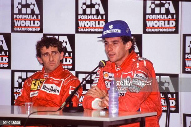 Alain Prost et Ayrton Senna donnent une conférence de presse lors du Grand Prix de MagnyCours en juillet 1991 France