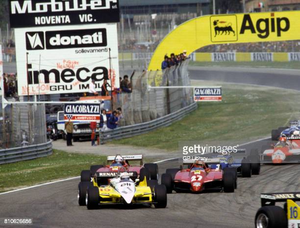 Alain Prost in a Renault RE30B Gilles Villeneuve 2nd and Didier Pironi 1st in Ferrari 126C2s at Imola San Marino GP