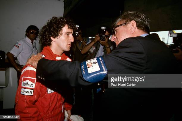 Alain Prost, Jean-Marie Balestre, McLaren-Honda MP4/4, Grand Prix of France, Circuit Paul Ricard, July 3, 1988. Alain Prost with FIA president...