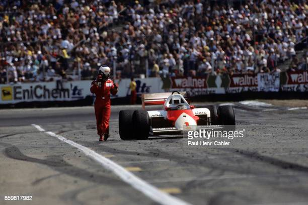 Alain Prost McLarenTAG MP4/2C Grand Prix of Germany Hockenheimring July 27 1986 Alain Prost ran out of fuel on the penultimate lap of the 1986 German...