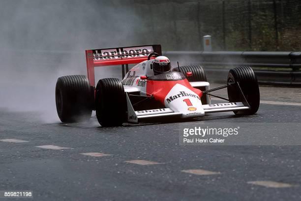 Alain Prost, McLaren-TAG MP4/3, Grand Prix of Belgium, Circuit de Spa-Francorchamps, May 17, 1987.
