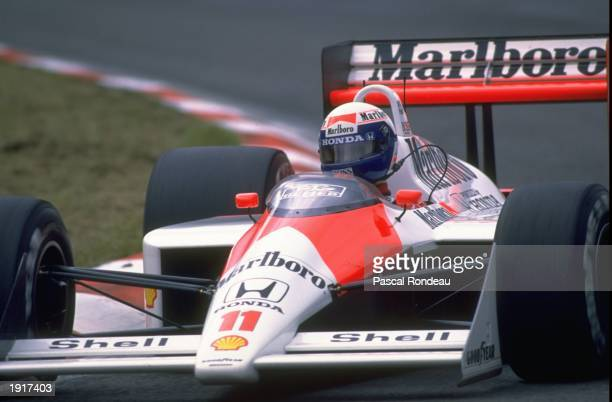 Alain Prost of France cuts close to a corner in his McLaren Honda during the Belgian Grand Prix at the Spa circuit in Belgium Prost finished in...