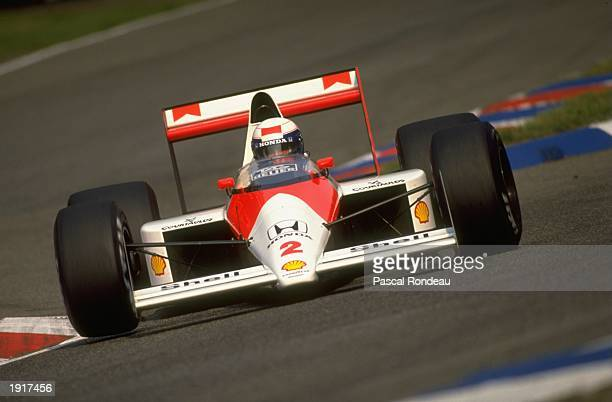 Alain Prost of France cuts close to a corner in his McLaren Honda during the West German Grand Prix at the Hockenheim circuit in West Germany Prost...