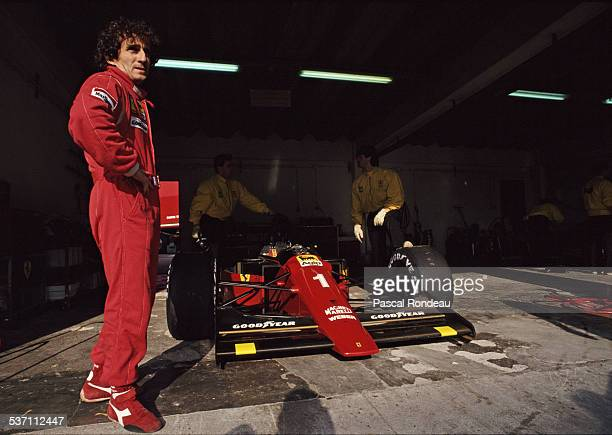 Alain Prost of France driver of the Scuderia Ferrari SpA Ferrari 641 Ferrari V12 during pre season testing on 10th February 1990 at the Autodromo do...