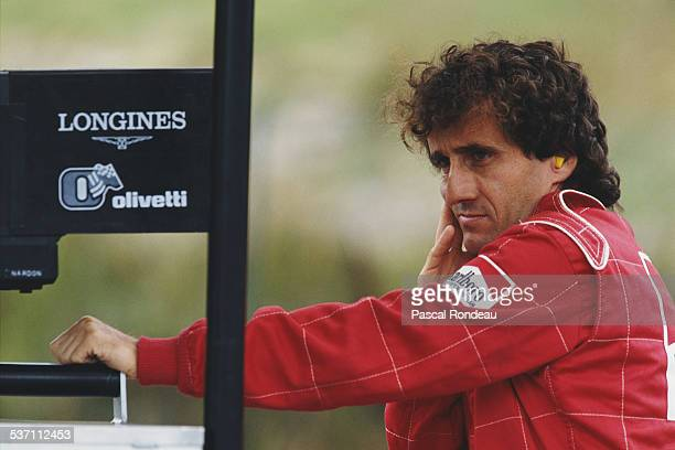 Alain Prost of France driver of the Scuderia Ferrari SpA Ferrari 641/2 Ferrari V12 during practice for the Belgian Grand Prix on 25th August 1990 at...